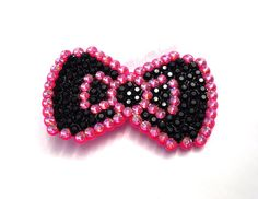 Sparkly Black & Hot Pink Bow Hair Clip by VelvetVolcano, £12.00