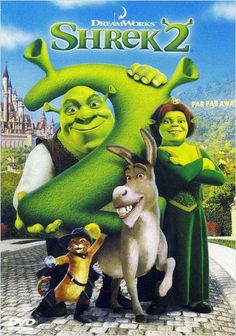 Shrek (Mike Myers) has rescued Princess Fiona (Cameron Diaz), got married, and now is time to meet the parents. Shrek, Fiona, and Donkey (Eddie Murphy Fiona Y Shrek, Shrek 2, Shrek Funny, Shrek Donkey, Disney Cartoons, Disney Movies, Disney Pixar, Punk Disney, Disney Facts