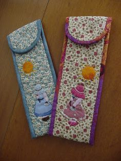 trozitoatrozito: FUNDAS DE ABANICO Diy And Crafts, Arts And Crafts, Sewing Case, Crochet Needles, Denim Bag, Mini Quilts, Patches, Pouch, Embroidery