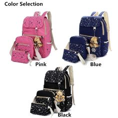 3Pcs Casual Women Canvas Backpack School Bags Star Print Crossbody Bags Clutch B…