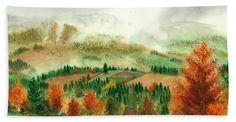 Transylvanian Autumn Bath Towel featuring the painting Transylvanian Autumn by Olivia C