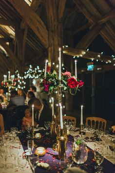 Fairy Lights and Candelabras | The Barn at Bury Court | Rustic Wedding | Navy, Red & Gold Colour Scheme | Francesca Secolonovo | http://www.rockmywedding.co.uk/sophie-andy/