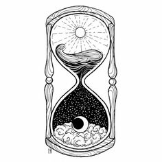 Drawings Ideas Hourglass Tattoo - the meaning of this Vanitas symbol Kunst Tattoos, Body Art Tattoos, Tattoo Drawings, Art Drawings, Drawing Art, Crazy Drawings, Sun And Moon Drawings, Moon Tattoos, Fake Tattoos