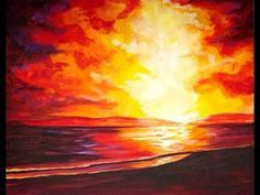 Beginners Acrylic Painting Stormy Sunset Step by Step  on Canvas