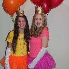 Princess Peach and Princess Daisy halloween costumes.