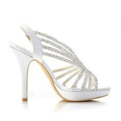 Women's Silk Stiletto Heel Peep Toe Sandals With Rhinestone (047039767)