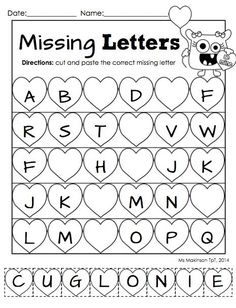 "February Printable Packet - Preschool or Kindergarten Literacy and Math. Missing letter ""cut and paste"" alphabet worksheet for Valentine's Day."