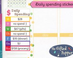 PRINTED Daily spending stickers. Expense log by TheGiftedPepper