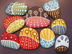 dot day art projects of painted pebbles. Will eventually be varnished (I take soooo long to finish stuff these days!) and turned into magnets. And, maybe one day. Stone Art Painting, Dot Art Painting, Pebble Painting, Pebble Art, Painted Rocks Craft, Hand Painted Rocks, Painted Pebbles, Painted Stones, Rock Painting Patterns