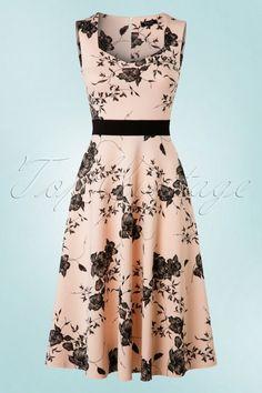 Vintage Chic TopVintage Exclusive ~ 50s Veronique Floral Swing Dress in Nude http://valuedvintage.com