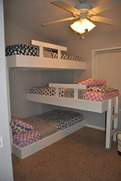 Triple Bunk Bed on Life with Mack & Macy - We love our new bunks and Land of Nod bedding.