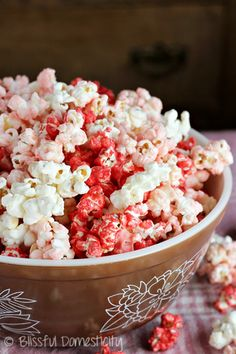 Super Easy Candy-Coated Popcorn-Last Minute Valentine Treat-Valentine Popcorn