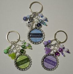 Personalized name flattened bottle cap keychain double sided with dangle beads choice of blue green purple music notes