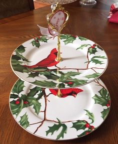 Grace's Teaware Holly & Cardinal Porcelain Two Tiered Server Plate New #GRACETEAWARE