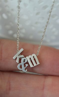 $22.50 Tiny Silver Ampersand and Initial Necklace...Small & Necklace...Monogram jewelry...minimalist bridal party jewelry gift idea birthday