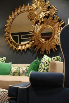 Nell Hill S Designers Combined Blues Bright Greens And Whites In A Mix Of Fun Fabrics The Montage Gold Sunburst Mirrors
