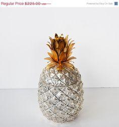 ON SALE Vintage Silver Pineapple Ice Bucket Italian Pineapple Ice Bucket Mid Century Hollywood Regency Barware Pina Colada Ice Chest Weddin