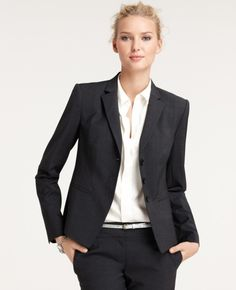 Current, shorter proportions for the men's style suit jkt and pant & Top 18 Elegant Fashion Combinations for Business Woman