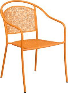 <ul><li>Stackable Patio Chair</li><li>Stacks up to 8 Chairs High</li><li>Curved Round Back</li><li>Integrated Arms</li><li>Rain Flower Seat and Back Design</li><li>Orange Powder Coat Finish</li><li>1.2mm Tubular Frame</li><li>Plastic Floor Glides</li><li>Lightweight Design</li><li>Designed for Indoor and Outdoor Use</li>...