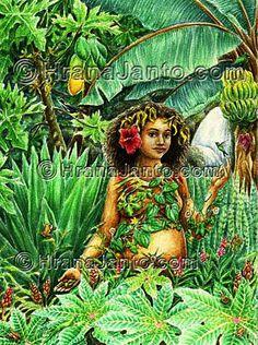 """ATABEIRA También conocida como (Also called) Atabei, Attabey, Atabex, Momona, Guacarapita,(""""cueva sagrada"""" - """"sacred cave"""") Iella, Guimazoa. El Ser Primordial de los Taínos de Borikén y otros pueblos pre-hispánicos de las Antillas. (The Primary Being of the pre-Hispanic Taínos of Borikén [present day Puerto Rico] and other peoples of the Antilles) Imagen de portada de (Image used as cover for) Sembrando y Sanando en Puerto RIco by María Benedetti"""