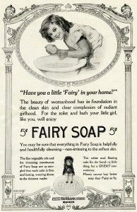 I'd put this on a glass bottle. Vintage soap label