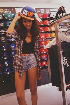 High waisted jean shorts, black crop top, flannel over top