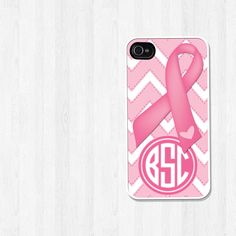 Personalized iPhone 4 Case Breast Cancer Awareness Ribbon Pink Chevron Monogram Cell Phone Case iPhone 4 Cover (225). $15.99, via Etsy.