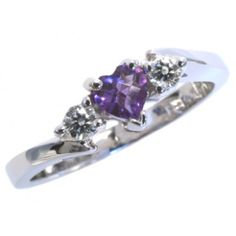 Diamond and amethyst ring with 0.10carat total diamond weight and 4mm heart amethyst in 14k white gold | #February #birthstone