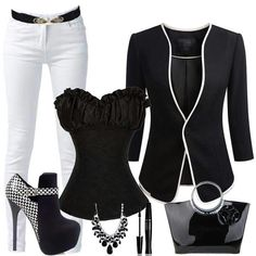Black & white outfit + accessories.