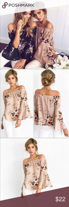 🌷Floral off the shoulder top🌷 Brand new Floral off the shoulder top in beige or navy. Tops Blouses