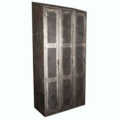 City of Portland Triple Door Steel Locker Cabinet | From a unique collection of antique and modern cabinets at https://www.1stdibs.com/furniture/storage-case-pieces/cabinets/