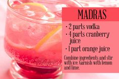 I make my madras with 1part vodka, 1 part OJ, 1 part cranberry. Make that shit strong.