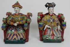 Pair of Antique Chinese Famille Rose Emperor and Empress statues. 12 inches #Chinese