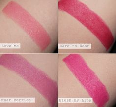 Essence Longlasting Lipsticks in Love Me, Dare to Wear, Wear Berries! and Blush my Lips