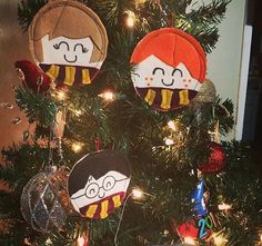 Please allow 3 business days BEFORE shipping. Set of 3 Harry Potter Inspired Ornaments  Perfect for any Potter head! These are 4.5 (about the size of a ball ornament) and made of natural canvas. Every piece is hand-cut with premium felt, stitched, and the faces are hand-drawn with quality fabric ink. These will be backed in random-colored felt. You get all 3 ornaments, wrapped nicely, for yourself or as a one-of-a-kind gift.  All will have slight variations, due to the nature of handmade…