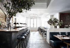 All'ingresso, il bar e la sala da pranzo di The Musket Room, ristorante neozelandese al numero 265 di Elizabeth Street a New York