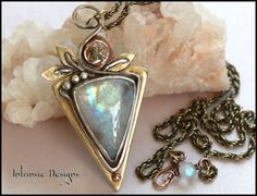 MOONLOVE...Rustic Mixed Metal  Pendant Necklace with by CathyHeery