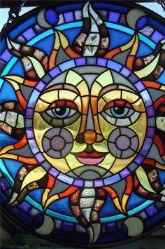 Amia Stain Glass Sun Catcher Celestial Sun Face Spectacular Colors with Chain | eBay