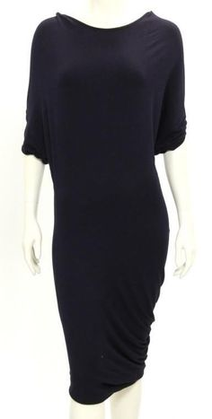 Alexander McQueen Dark Purple Knit Asymmetrical Hem Dress Size 42 #AlexanderMcQueen #StretchBodycon