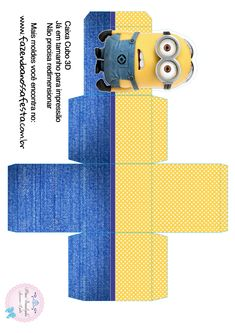 Mesversario Caixa Minion Theme, Minion Party, Image Minions, Minions Eyes, Imprimibles Toy Story Gratis, Minion Birthday Invitations, Diy And Crafts, Paper Crafts, Printable Box