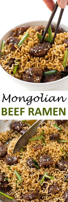 Mongolian Beef Ramen. Just like PF Changs Mongolian Beef but with Ramen Noodles! Ready in less than 30 minutes. | chefsavvy.com #recipe #mongolian #beef #ramen #dinner