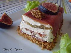 Terrine fromage frais, figue, noix & jambon de Bayonne
