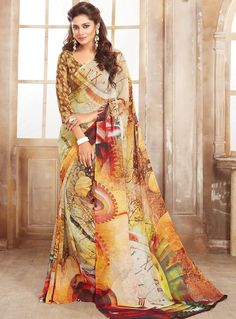 Yellow Georgette Casual Wear Saree 84751