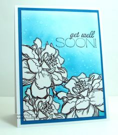 Snippets: Embossed Get Well - heat embossed flowers after stamping and then took Versamark pen and coloured in the flowers, poured on the clear embossing powder and heat set. Then sponged background