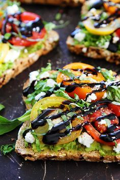 ... cheese toast avocado toast with tomatoes goat cheese arugula basil and