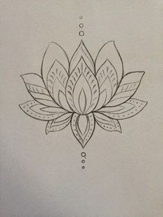 lotus zentangle doodle line drawing