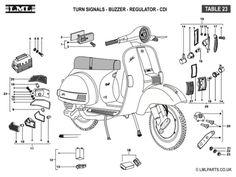 (23) INDICATOR LIGHTS-BUZZER-REGULATOR-CDI - Tasso LML Scooter Spare Parts