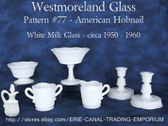 Pattern American Hobnail in White Milk Glass by Westmoreland Glass Vintage Dishes, Vintage Glassware, Antiques For Sale, Vintage Antiques, Westmoreland Glass, Glass Company, Vintage Shabby Chic, Glass Collection, Antique Glass
