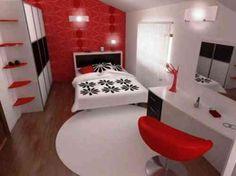 décoration chambre  en rouge et blanc tabouret de bar