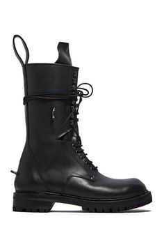 half off 1412f 5558e Elastic Long Chunky Lace-Up Boots Rick Owens Men, Eyelet Lace, Cow Leather